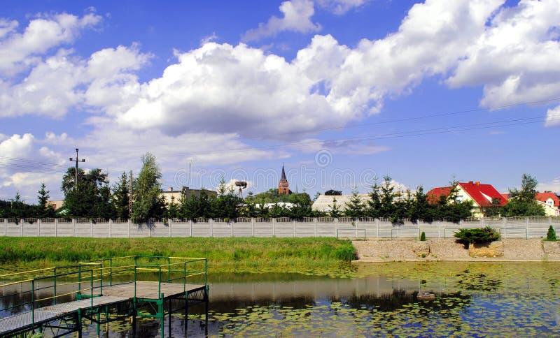 Petit village ³ W d'erkà près de Å» dans le comté de Jarocin, la Voïvodie de Grande-Pologne, Pologne image libre de droits