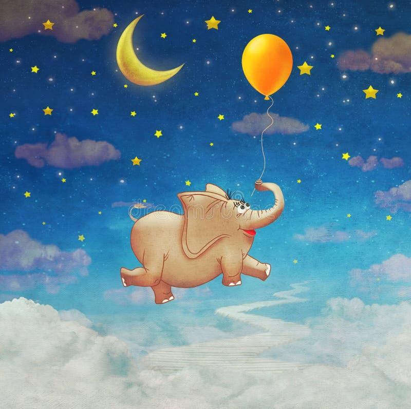 Petit vol mignon d'éléphant au ballon à air coloré dans le ciel illustration de vecteur