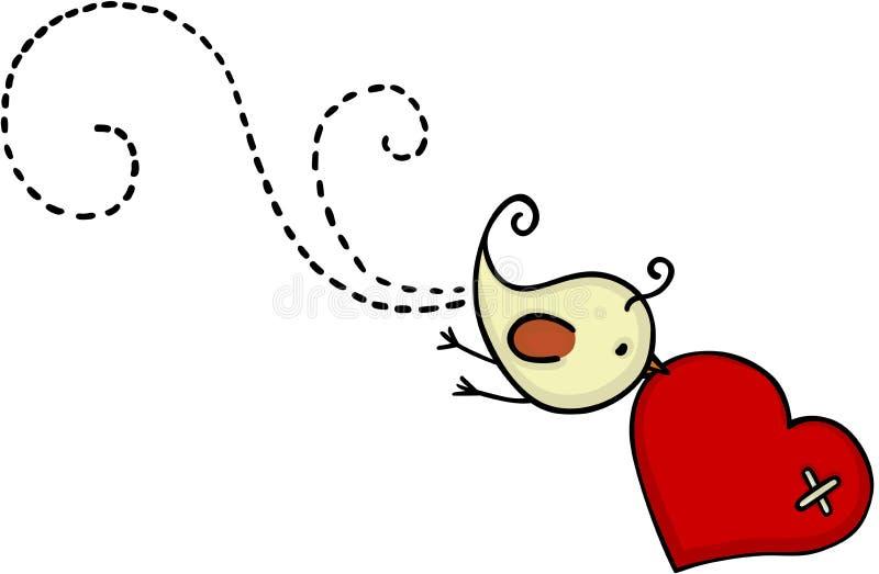 Petit vol mignon d'oiseau avec le coeur rouge illustration stock