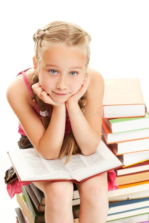 petite écolière pensive image stock