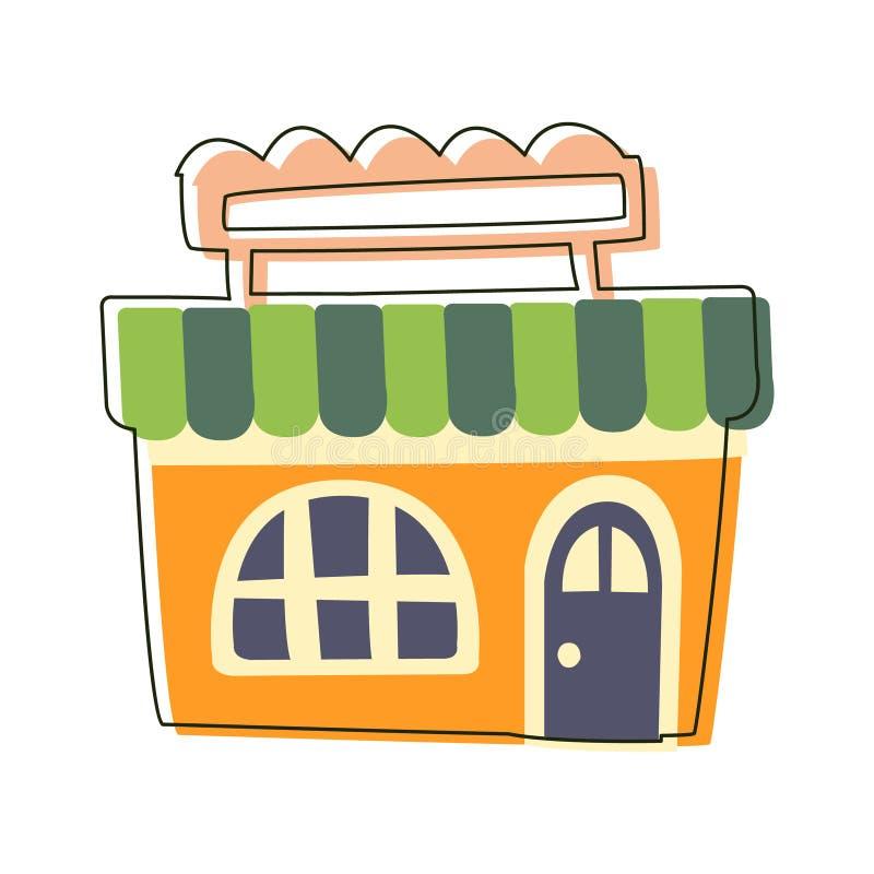 Petite épicerie orange, illustration de bande dessinée décrite par élément mignon de paysage de ville de conte de fées illustration de vecteur