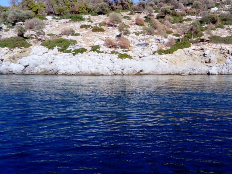 Petite île rocheuse aux buissons image libre de droits