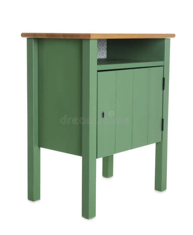 Petite armoire verte sur le fond blanc image libre de droits