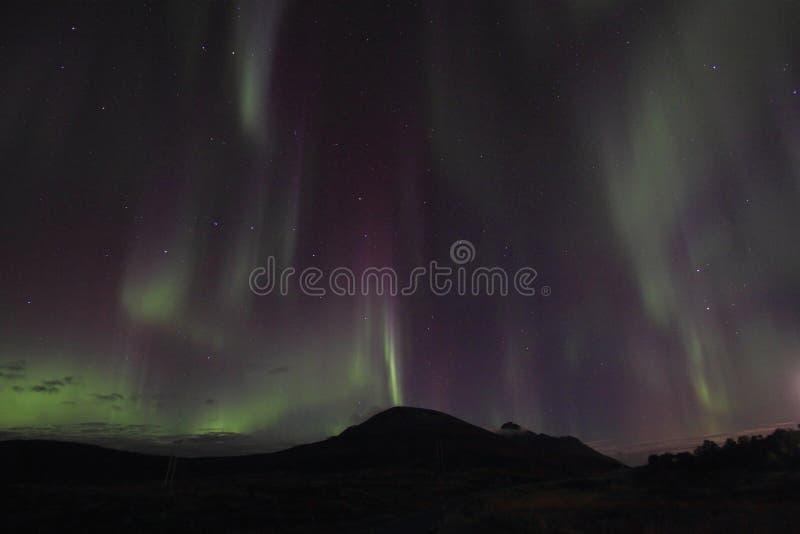 Petite averse du nord au-dessus des collines de Lofotens photos libres de droits