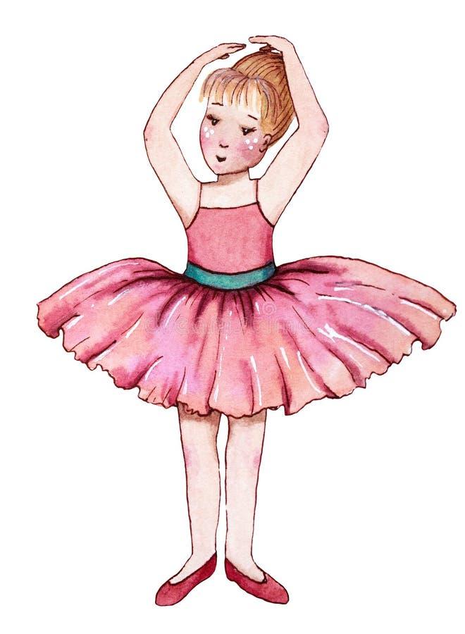 Petite ballerine dans la robe rose illustration de vecteur
