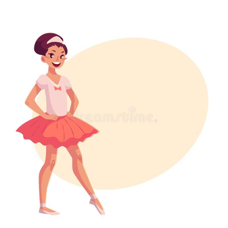 Petite ballerine dans le tutu rose, mains sur la taille, orteil aigu illustration stock