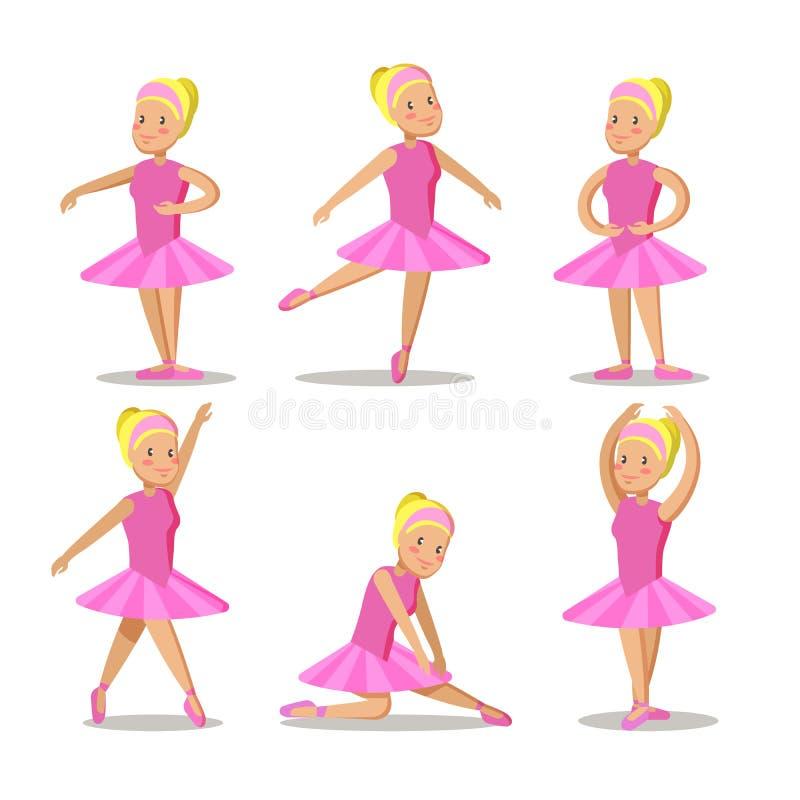Petite ballerine en personnages de dessin animé roses de robe réglés illustration de vecteur