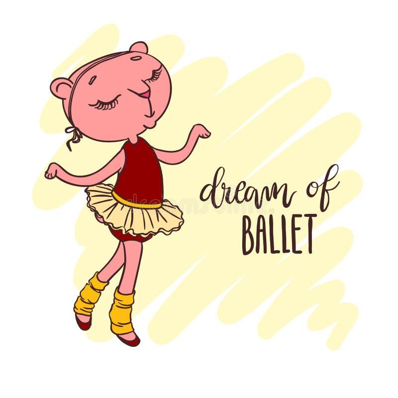 Petite ballerine mignonne dans le tutu de ballet Inscription : rêve de boule illustration stock