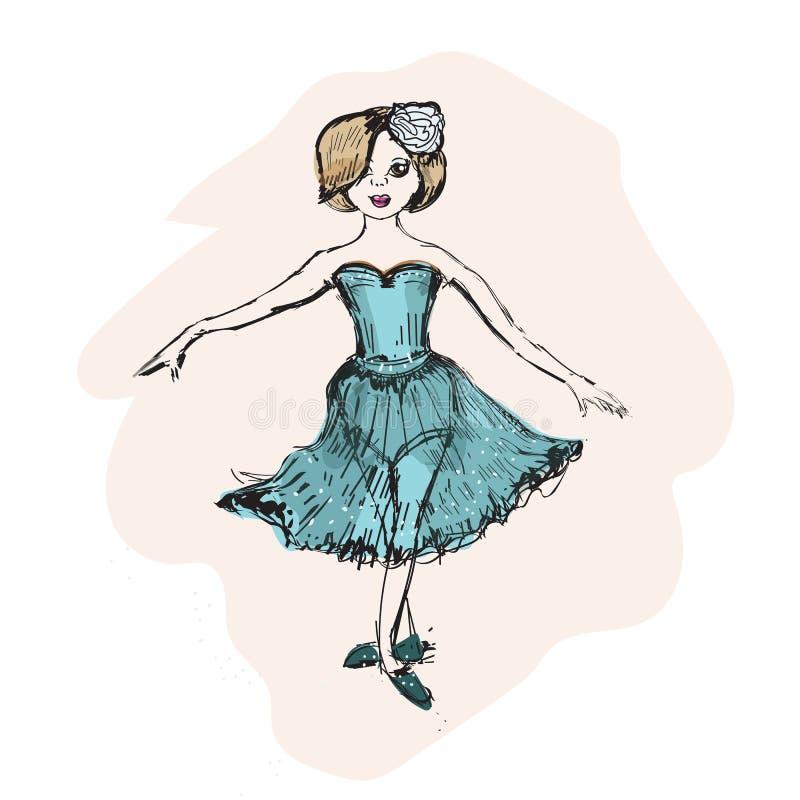 Petite ballerine mignonne, illustration de crèche de griffonnage illustration libre de droits