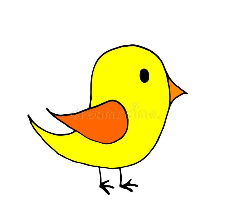 petite bande dessinée d'oiseau de griffonnage tiré par la main, schéma, colorant photographie stock