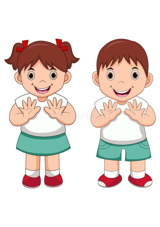 Petite bande dessinée heureuse d'enfants d'école illustration de vecteur