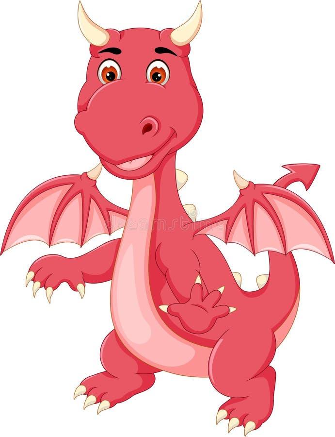 Petite bande dessinée mignonne de dragon se tenant avec le sourire et l'ondulation illustration de vecteur