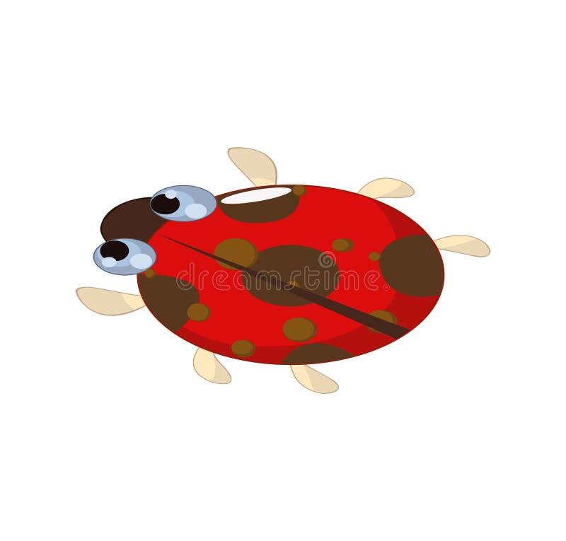 Petite bande dessinée rouge mignonne de coccinelle ou de coccinelle illustration de vecteur