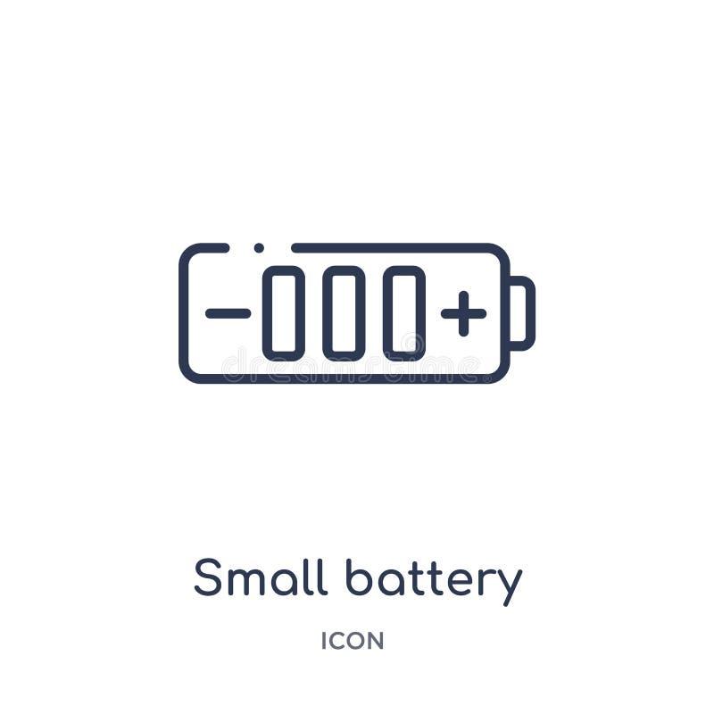 petite batterie avec l'icône moyenne de charge de la collection d'ensemble de technologie La ligne mince petite batterie avec l'i illustration stock