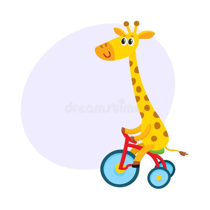 Petite bicyclette mignonne d'équitation de caractère de girafe, tricycle, faisant un cycle, illustration de bande dessinée illustration libre de droits