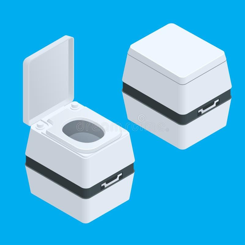 Petite bio toilette isométrique d'isolement sur l'illustration blanche illustration stock