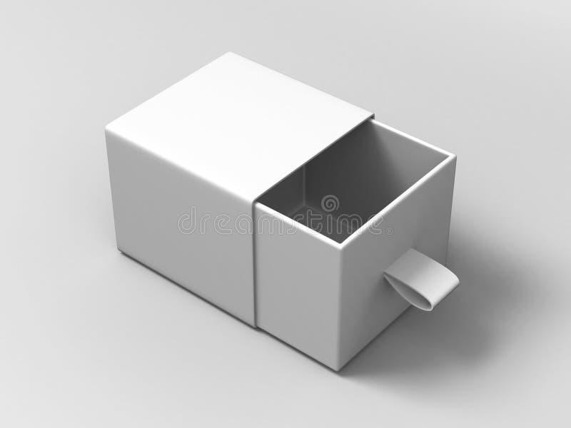 Petite boîte de glissement blanche vide de carton de paquet réaliste sur le fond gris Pour de petits éléments, correspondances, e illustration de vecteur