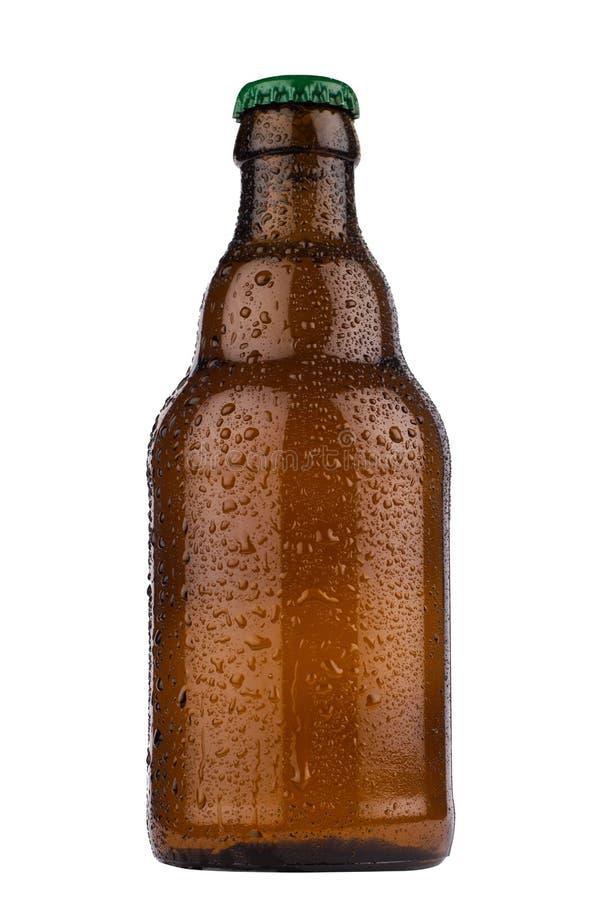 Petite bouteille à bière brune d'isolement sur le fond blanc image stock