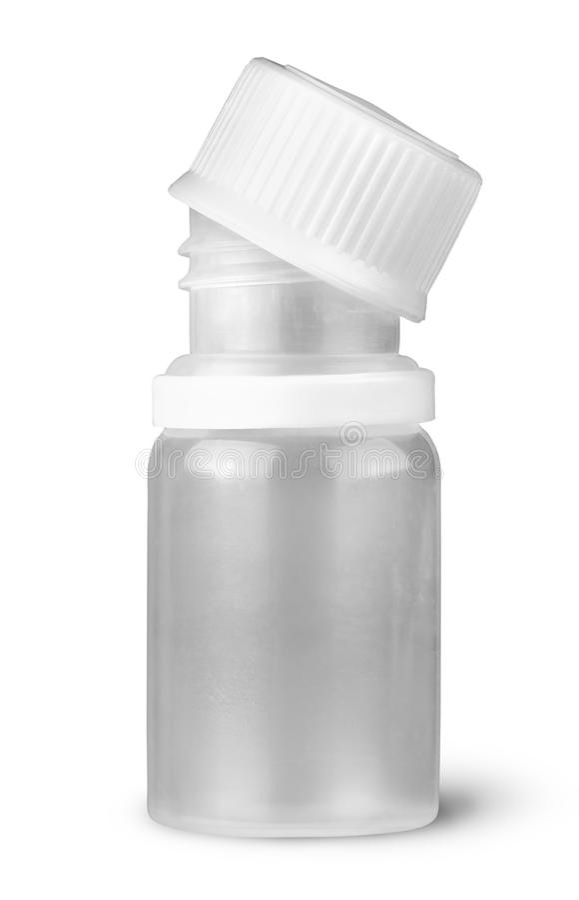 Petite bouteille en plastique le couvercle étant coupé photo libre de droits