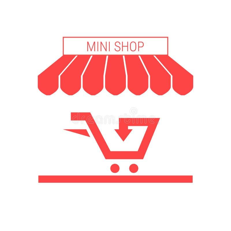 Petite boutique, icône de Mini Market Single Flat Vector Tente et enseigne rayées illustration de vecteur