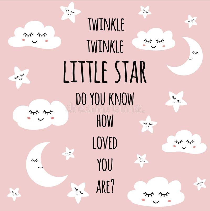 Petite carte de voeux d'étoile pour le vecteur de sourire de citation des textes de visage d'affiche de crèche de fête de naissan illustration libre de droits