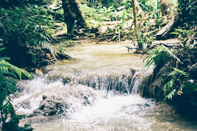 Petite cascade dans la forêt tropicale, province de Kanchanaburi, Thaïlande photographie stock