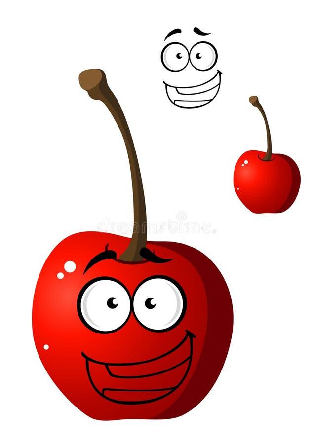 Petite cerise heureuse rouge mûre de bande dessinée illustration stock