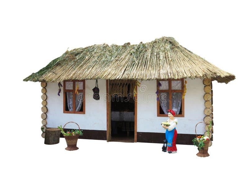 Petite Chambre minuscule avec le toit de paille d'isolement sur le blanc photos libres de droits