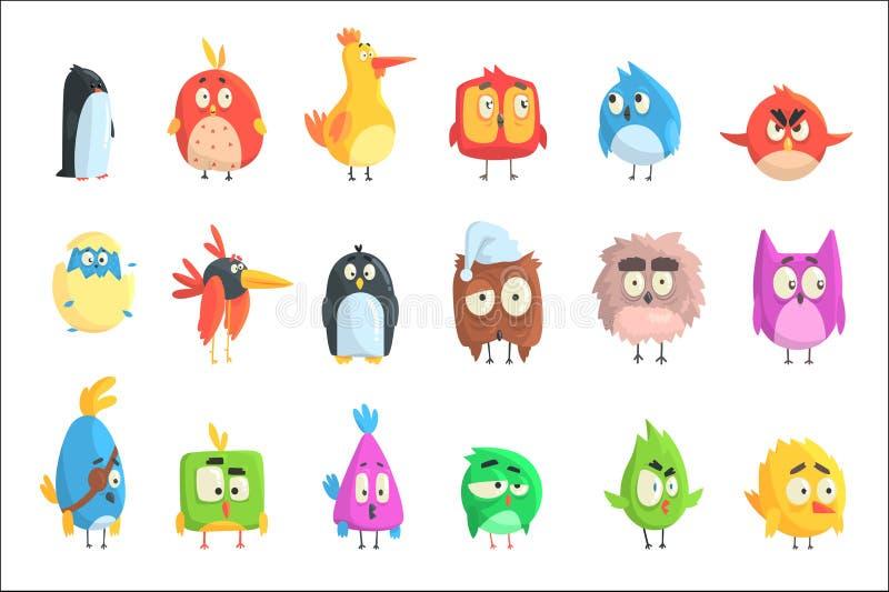 Petite collection mignonne de poussins d'oiseau de personnages de dessin anim? dans des formes g?om?triques, animaux mignons styl illustration stock