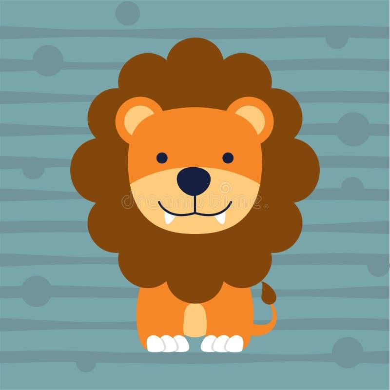 Petite conception mignonne et affiche de T-shirt d'enfants de lion illustration libre de droits