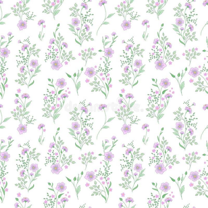 Petite configuration de fleur Fond sans joint floral de cru Vert bleu sensible sur le blanc illustration de vecteur