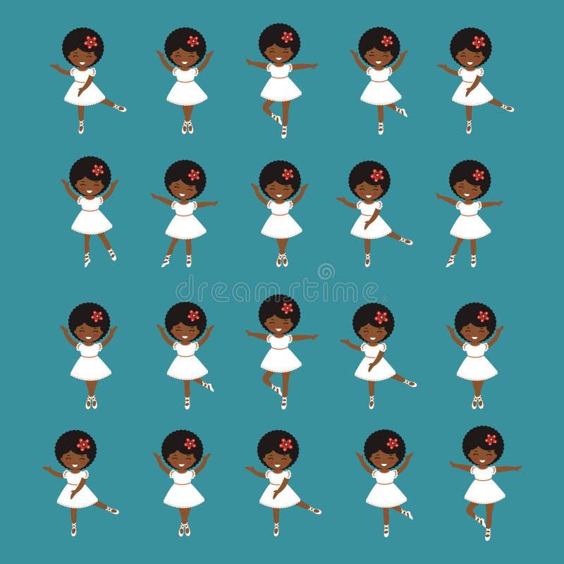 Petite danse mignonne de filles de ballerine Collection de figures dans diff?rentes poses illustration libre de droits