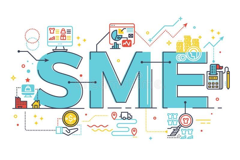 Petite et moyenne entreprise de PME, illustration de lettrage de mot illustration de vecteur