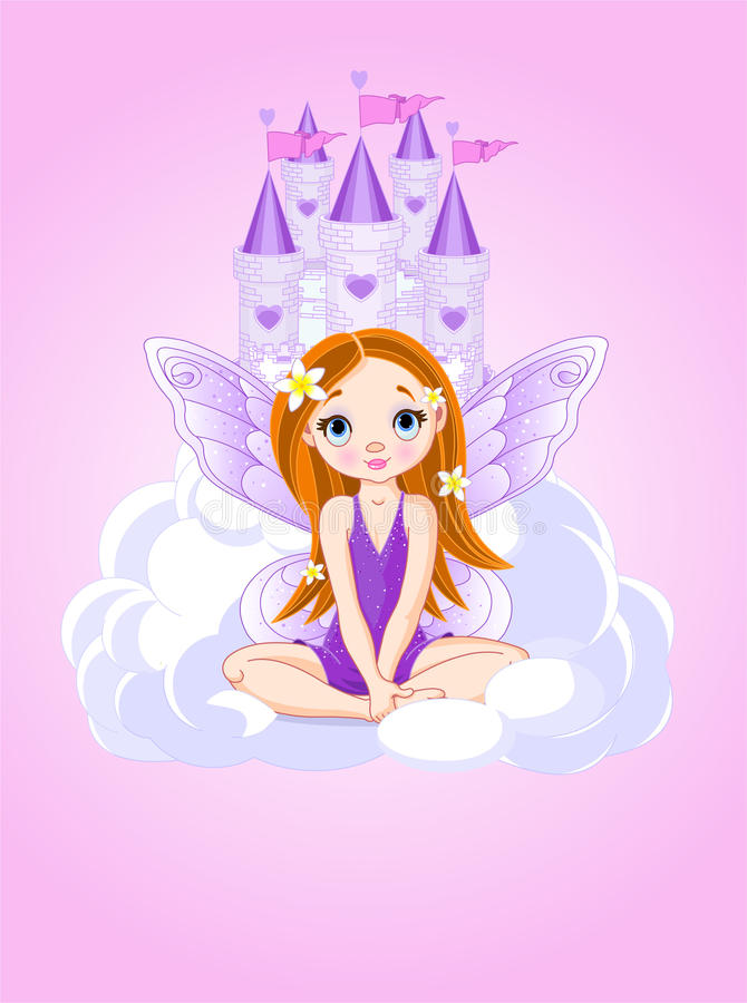 Petite fée mignonne et un château illustration de vecteur