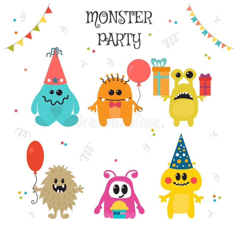 Petite fête d'anniversaire mignonne de monstres illustration stock