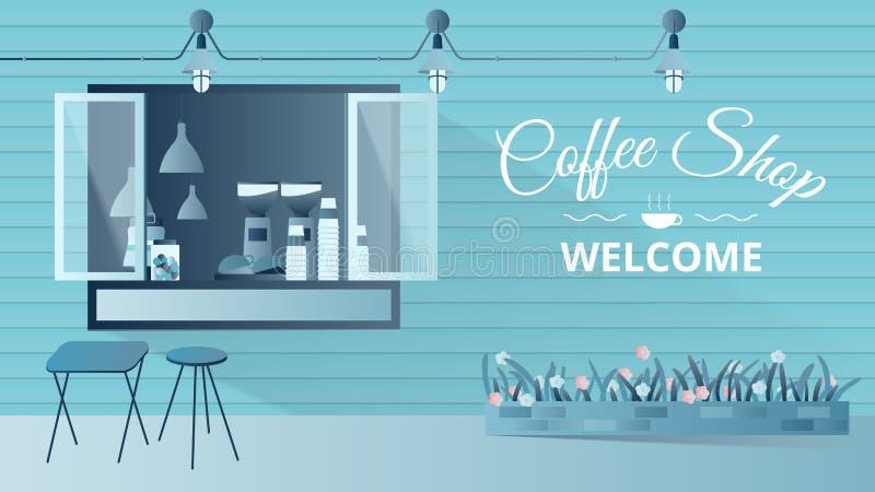 Petite façade de café, conception extérieure élégante de devanture de magasin avec le fond de l'espace de copie illustration libre de droits