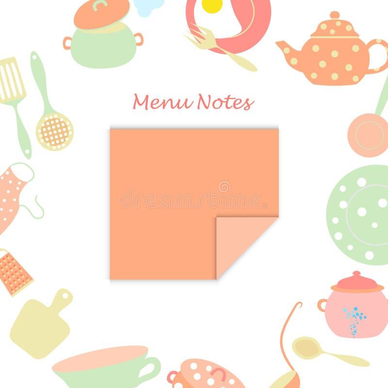 Petite feuille pour des notes de menu illustration libre de droits