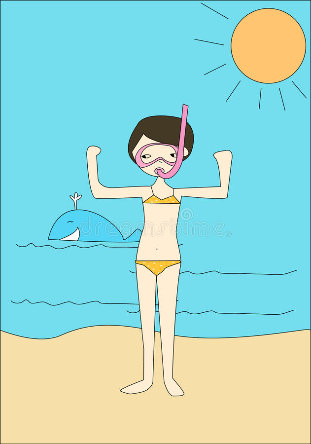 Petite fille à la plage illustration de vecteur