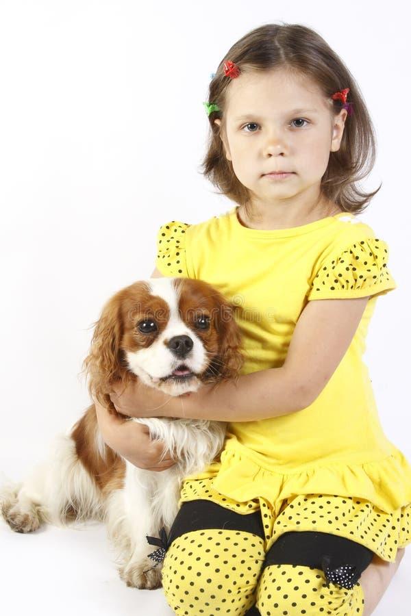 petite fille 5 années et le crabot d'isolement photo stock