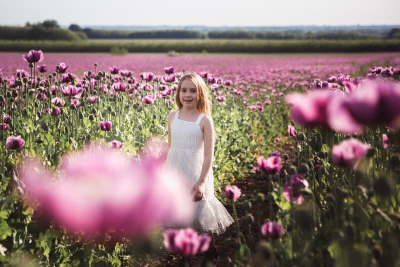 Petite fille adorable avec de longs cheveux dans la marche isol?e de robe blanche dans le domaine lilas de Poppy Flowers images libres de droits