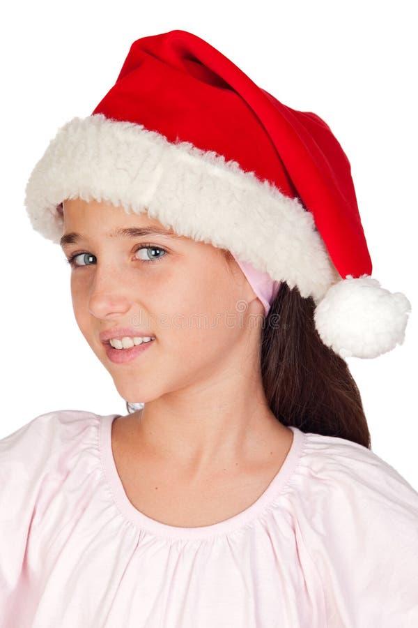 Petite fille adorable avec la cuvette de Noël photographie stock