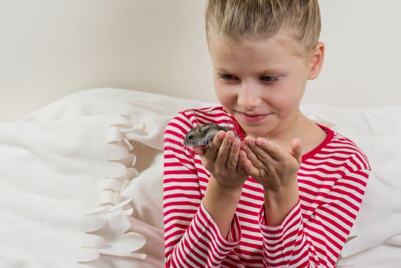 Petite fille adorable avec son petit hamster d'animal familier photo stock