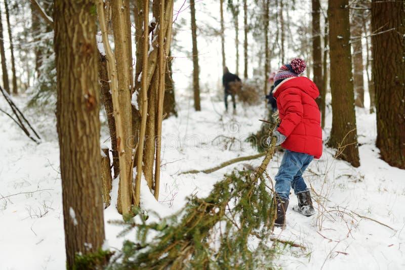 Petite fille adorable ayant l'amusement dans l'enfant heureux de belle forêt d'hiver jouant dans une neige photos libres de droits