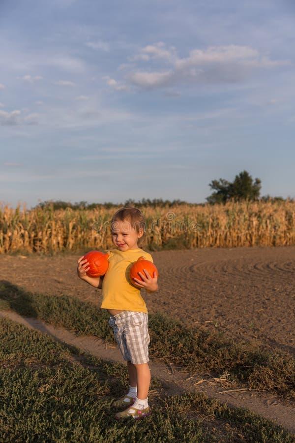 Petite fille adorable tenant deux petits potirons sur le champ photo libre de droits