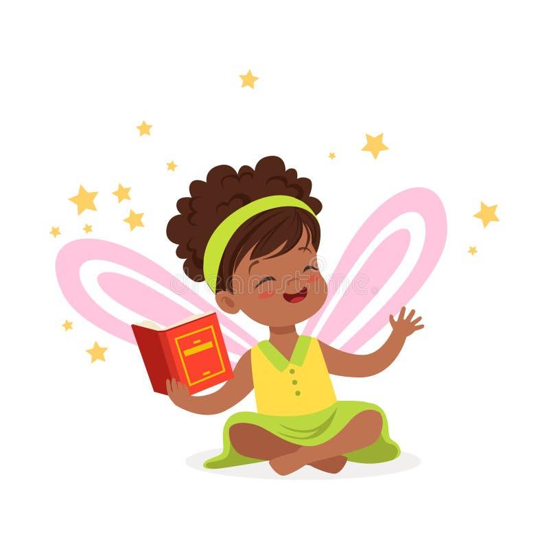 Petite fille africaine douce avec un livre rêvant du conte de fées, de l'imagination d'enfants et de l'imagination, vecteur color illustration stock
