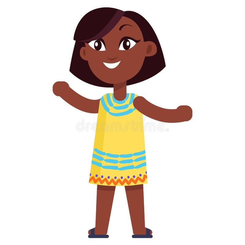 Petite fille afro-américaine heureuse dans la robe jaune illustration de vecteur