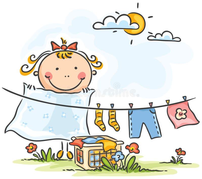 Petite fille aidant sa mère avec la blanchisserie illustration de vecteur