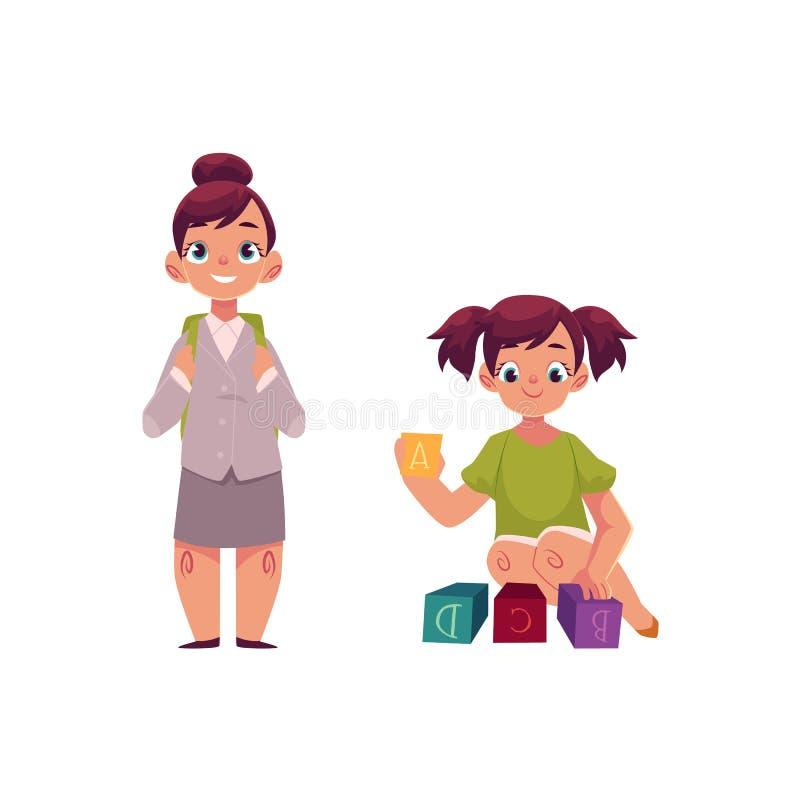 Petite fille allant à l'école, jouant avec des blocs illustration de vecteur
