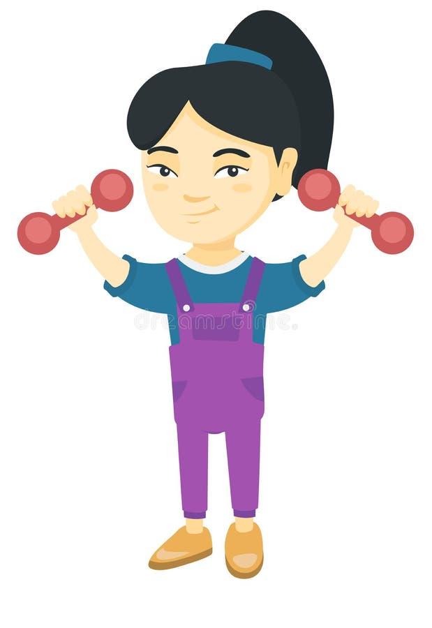 Petite fille asiatique de sourire tenant des haltères illustration stock