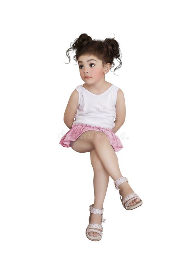 Petite fille avec de grands, se demandants yeux photos stock